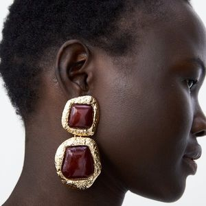 Zara gold and maroon contrast drop earrings